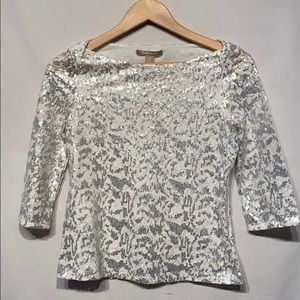 Banana Republic White Silver Sequined Top Size 0P